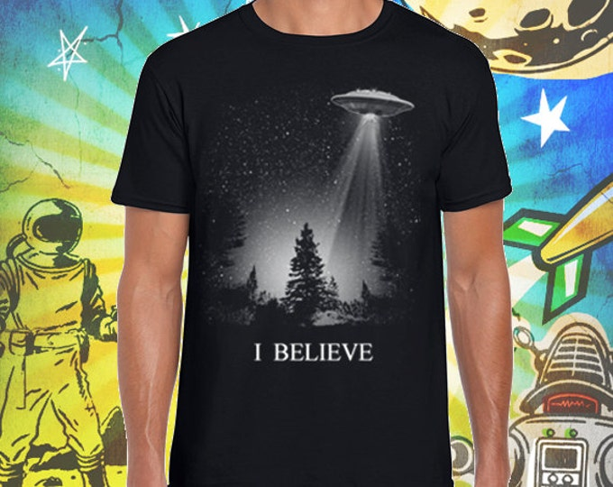 The X-Files / Fox Mulder / I Believe UFO / Men's Jet Black T-Shirt