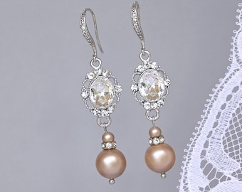 Champagne Pearl Earrings, Vintage Bridal Earrings, Pearl Wedding Jewelry, Bridesmaid Earrings, Crystal & Pearl Earrings, AISHA