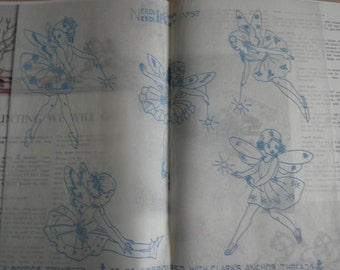 Vintage Needlewoman and Needlecraft booklet no 52, 1952, sewing, crochet and knitting patterns, fairy transfer