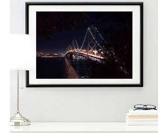 San Francisco Bay Bridge, photo print, bridge photo, city picture, home decor, city skyline wall art, California Bridge, @richardlephoto