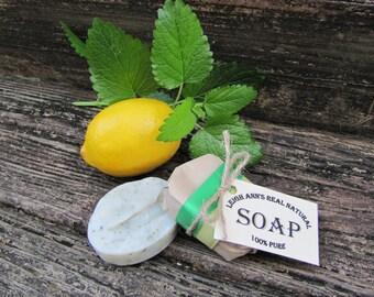 5 Bars Lemon Basil Soap <Handmade-Aromatherapy-EssentialOils-Natural-Herbal-Dry Skin-Antibacterial-Kitchen Soap>