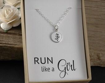 Run like a girl, runner necklace, marathon jewelry, runners necklace, run necklace, running jewelry, half marathon, marathon 10K 5K