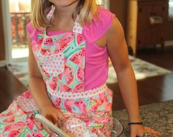 Watermelon Apron, Retro Style Apron, Children's Apron, Little Girl Apron, Cooking Apron, Toddler Apron, Girl Apron, Baking Apron, Kids Apron