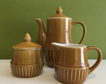 Vintage Mid Century Teapot, Creamer and Sugar Bowl