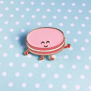 Macaron Pink Enamel Pin - dessert french pastry food pastel lapel
