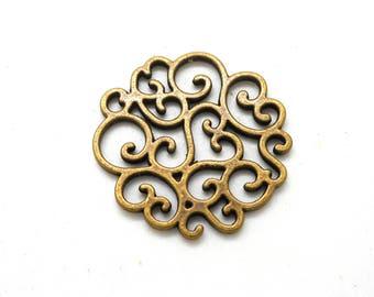 Prints or bronze round floral pendant