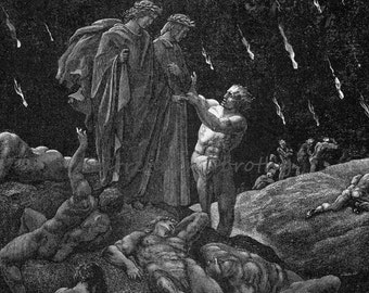 Brunetto Latini Accosts Dante Inferno Canto 15 Vintage Engraving Gustave Dore Hell Black & White
