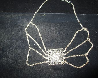 Stamped Silver Plate Necklace