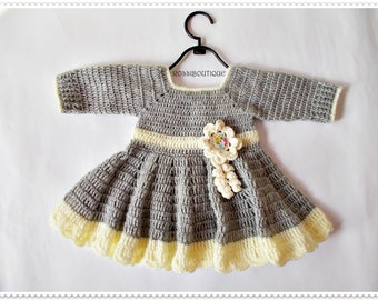Crochet Baby Dress, Newborn dress, gray baby dress, baby girl dress, Baby dress, Gray champagne dress, knit baby dress