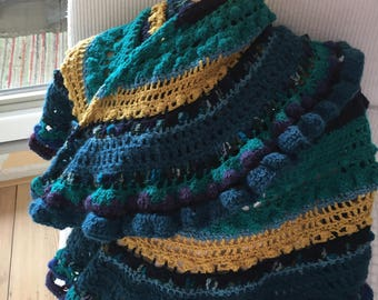 Blue Green crocheted Shawl. Lost in time