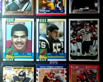 A Vintage Lot of 9 Junior Seau Football Cards The San Diego Charger Great! Original authentic sport cards 1.00 Ship