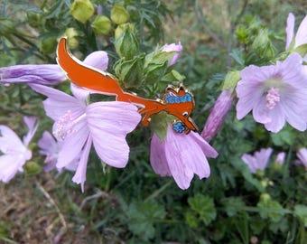 Enamel pin Fox with flowers