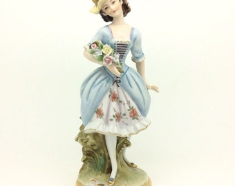 Continental German Dresden Porcelain Figurine Lady with Flowers Unmarked