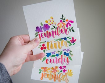 Hand Painted Watercolor Floral Personalized Notecards (Set of 10)
