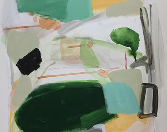 green abstract painting Original abstract painting 20x20 modern art contemporary art green and white pamela munger