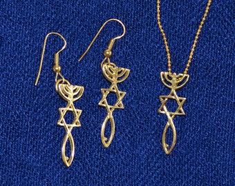 Jewish Messianic Jewelry.Christian Messianic Jewelry.14k Gold Messianic Jewelry From Israel.Gold Messianic From Holy Land.FREE SHIPPING!