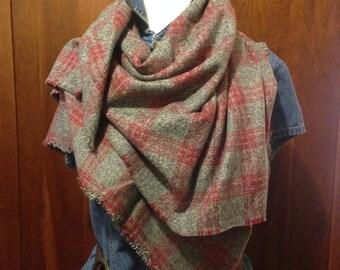 Grey\Red Flannel Blanket Scarf