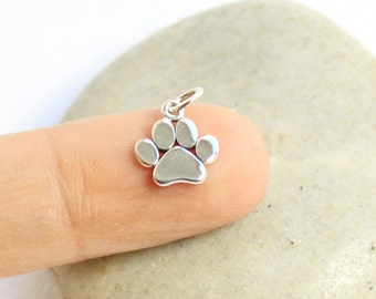 Sterling Silver Paw Charm -- One Piece -- 925 Tiny Animal Lover Pendant