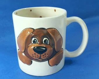 Dog mug, puppy mug, character mug, child mug, kids mug,child gift,personalized mug,birthday gift,gift for boy,gift for girl,hand painted mug