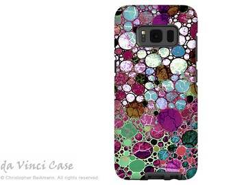Case for Samsung Galaxy S8 - Burgundy abstract dual layer Galaxy S 8 Case - Berry Bubbles -  Premium Dual Layer S8 Cover by Da Vinci Case