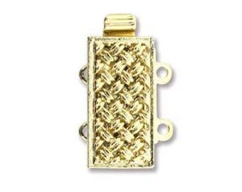 Gold Plate Bracelet Clasp 10X16mm 2 Strand Rectangle, Jewelry Findings, Clasp, Jewelry Making Supplies / 1 Clasp
