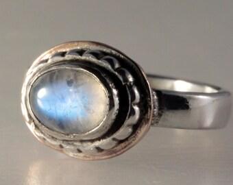 Mixed Metal Oval Rainbow Moonstone Ring