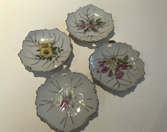 Vintage Bone China Set of 4 Leaf Style Dishes Made in Japan
