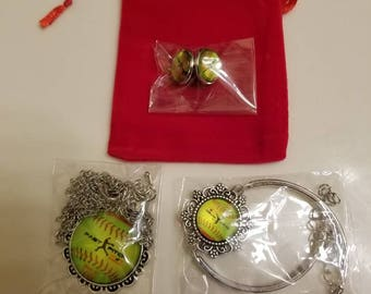 Fastpitch Softball Necklace,  Bracelet and Earring Set