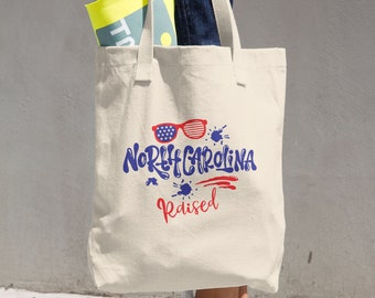 North Carolina Raised Cotton Tote Bag