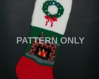PRINTED Pattern Only Hand Knitted Fireplace/Wreath Christmas Stocking