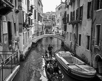 Venice Canal black and white photography prints, Venice photography wall art, Italian wall art, Venice poster, Italy poster, Venice canal A4