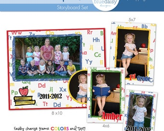 ABC Class Photo Templates - 8x10, 5x7, 4x6 and Wallet Size - Photographer Templates