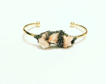 Pink druzy and crushed pyrite cuff bangle bracelet