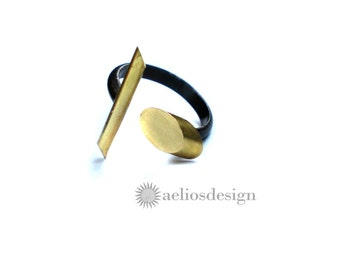 Oxidised Sterling Silver Brass Oval and Bar Open Abstract Ring