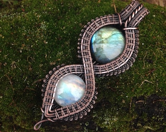 Copper Wire Wrapped Rainbow Moonstone and Labradorite Amulet for New Begginings and Inner Peace