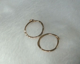 Gold Hoop Earrings,  14K Solid Gold, Piercing Gold Hoops, 10 mm id, Gold Sleepers, Small 14K Gold Hoops, 14K Gold Earrings, Hammered