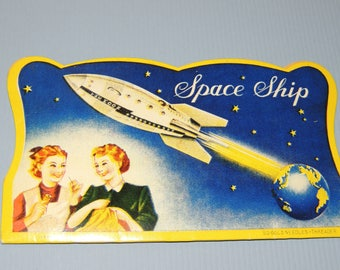 Vtg SPACE Ship Needle Card, made in Japan