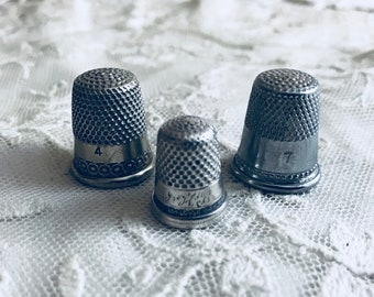 3 Antique Thimbles Silver Plated Engraved