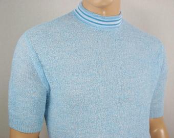 NOS Vintage 1960's Men's ULtrA MoD MoCk Turtle Neck Cotton Knit Sweater Shirt Size S M