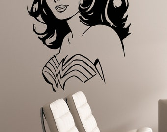 Wonder Woman Wall Decal Vinyl Sticker Marvel Comics Girl Superhero Art Decorations for Home Housewares Living Kids Room Bedroom Decor wmv4