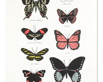 Neon Butterfly Study Art Print