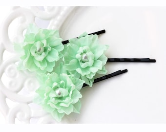 717 Mint silk flowers bobby pins, Delicate bobby pins, Green flower pin, Flowers hair accessory, Bobby pins flowers, Pearl hair accessory
