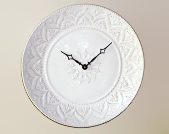 Whitewash Lacy Wall Clock SILENT - 11 Inches, Kitchen Wall Clock, Stoneware Plate Clock, Unique Wall Clock - 2416