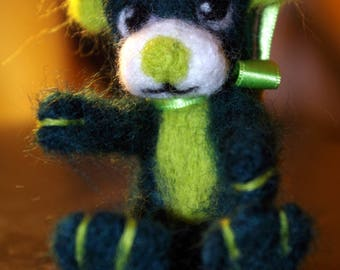 Teddy bear, miniature bear, dark green