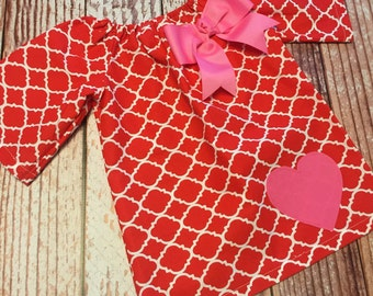 Valentine's Day Dress - Heart Dress - Peasant Dress - Girl, Toddler Girl, Baby Girl - Size 12M thru 11/12 - Red Quatrefoil