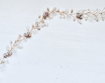 Bridal hair accessories, wedding accessories, bridal hairvine, bridal hairpiece, Art Deco, boho, seed beads, vintage, crystals, rose gold