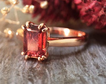 5x7MM Pink Tourmaline Solitaire Engagement Ring | Prong Setting | Solid 14K Gold | Colored Stone Ring | Fine Jewelry | Free Shipping