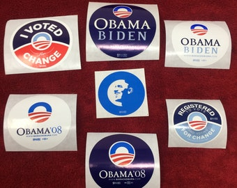 7 (Seven) President Barack Obama : Campaign stickers