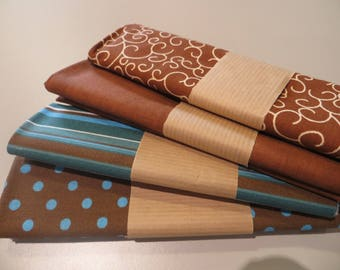 four coupons 50 x 50 cm, Brown/Blue 100% cotton fabric