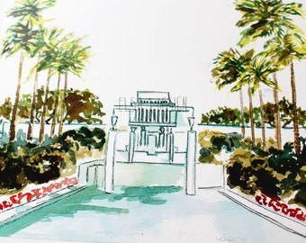 Hawaii LDS Temple - Watercolor Temple 8x10 print by Elsa Ferre